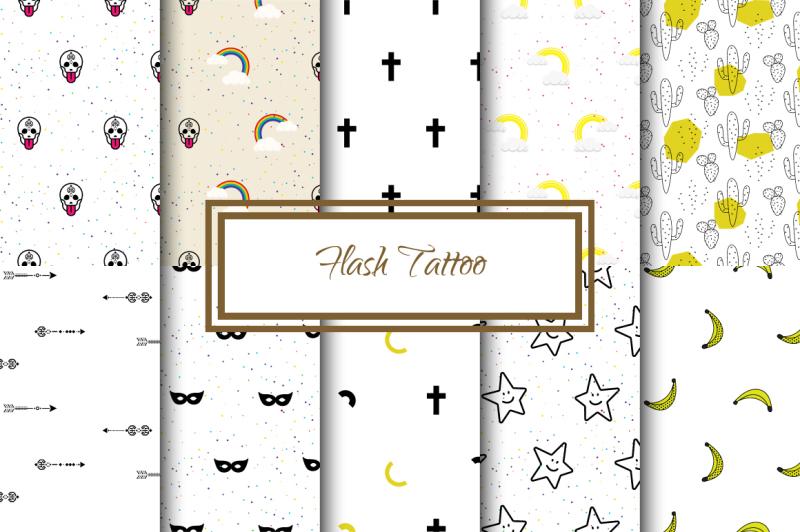 flash-tattoo-seamless-patterns
