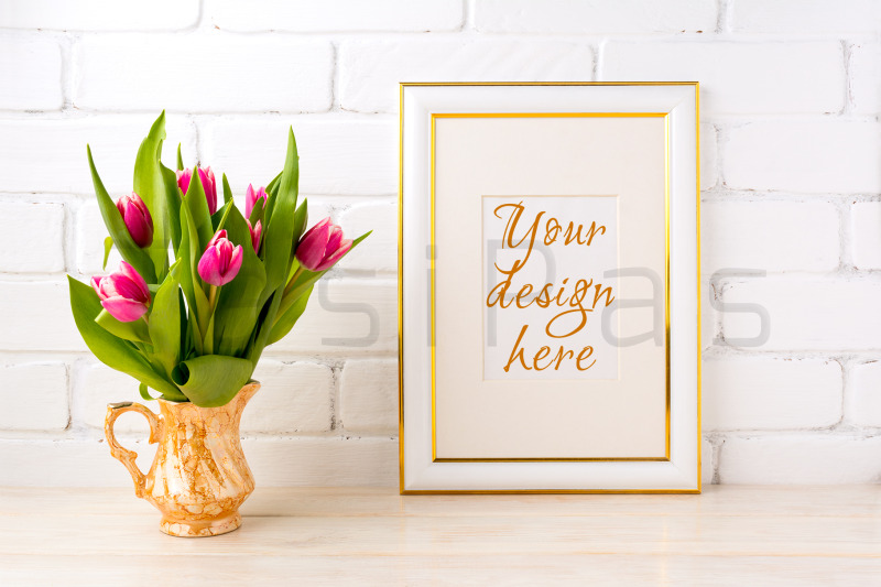 Free Gold decorated frame mockup with bright pink tulips bouquet (PSD Mockups)