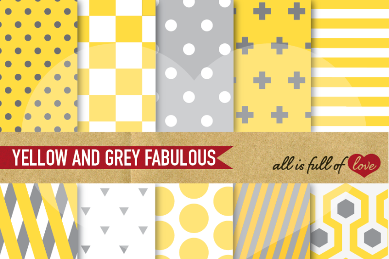 yellow-grey-digital-paper-pack