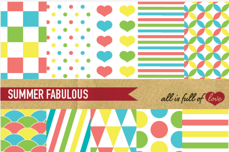 coral-yellow-lime-turquoise-digital-paper-pack