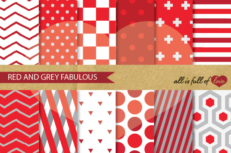 red-grey-geometric-digital-paper-pack