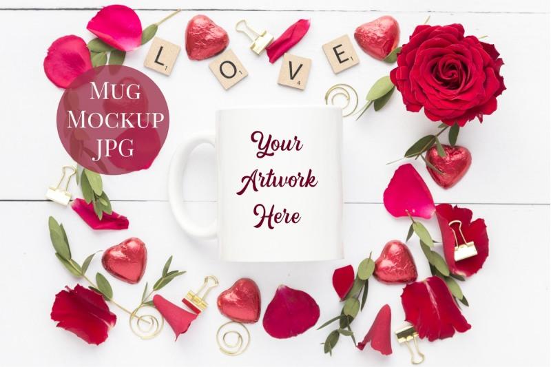 Free Mug Mockup-Red Roses (PSD Mockups)