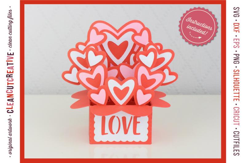 love box card valentine card in a box with cute hearts