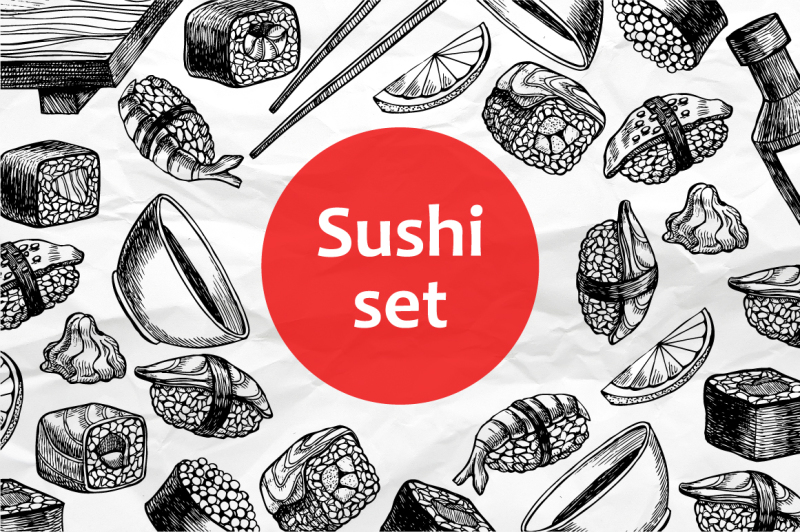 sushi-set-hand-drawn-illustrations