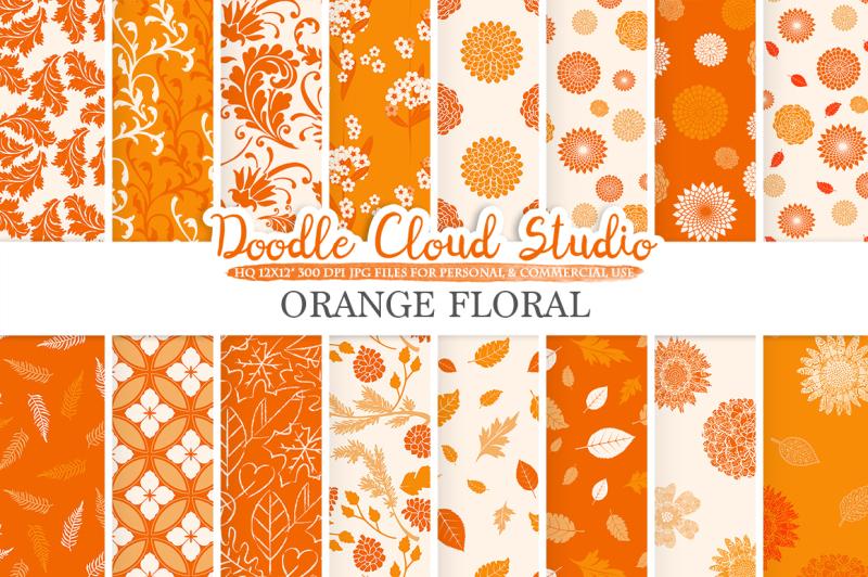 orange-floral-digital-paper-floral-patterns