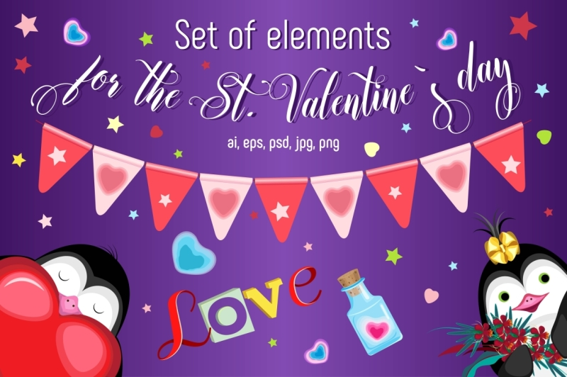 set-of-elements-for-the-st-valentine-s-day