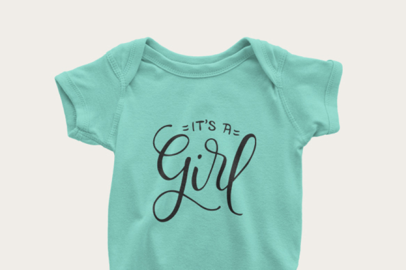 It S A Girl Baby Announcement Hand Drawn Lettered Cut File By