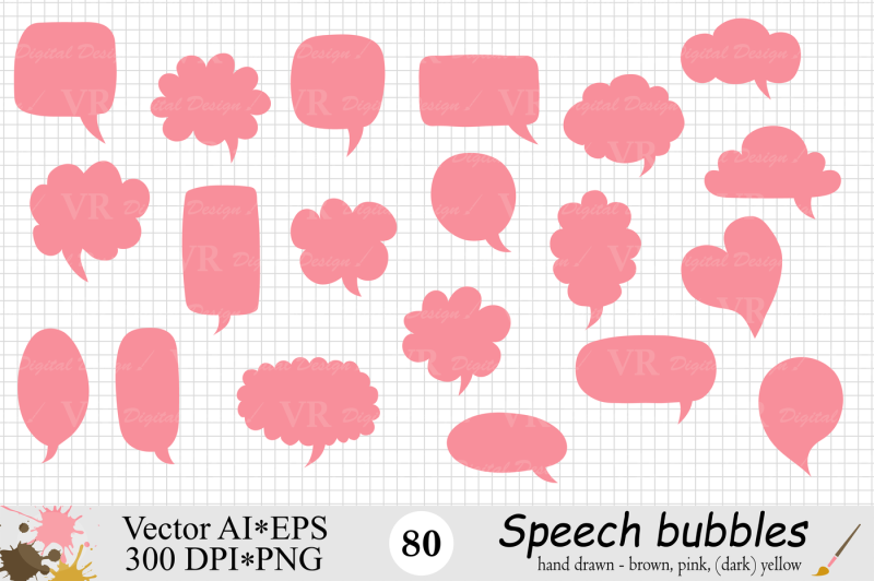 speech-bubbles-clipart-chat-bubbles-brown-pink-yellow-vector