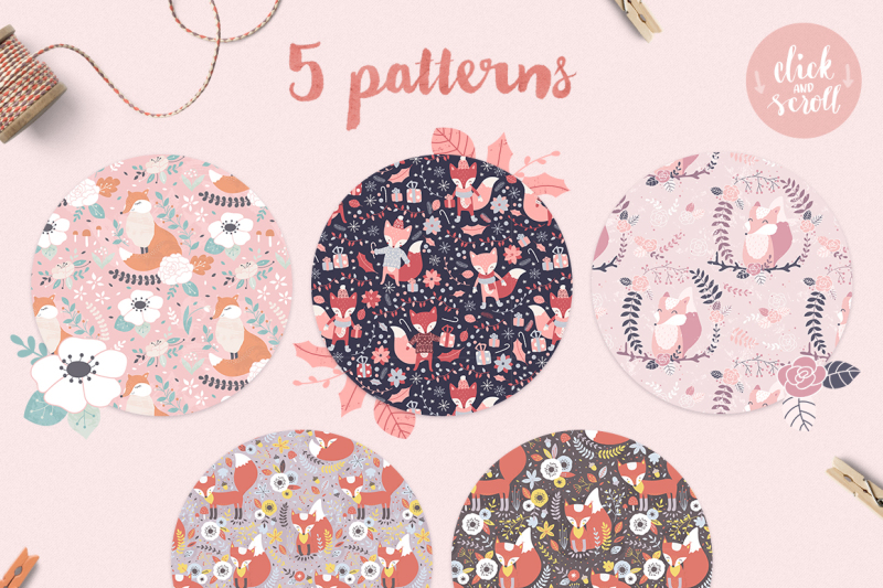 cute-foxes-patterns-and-clipart