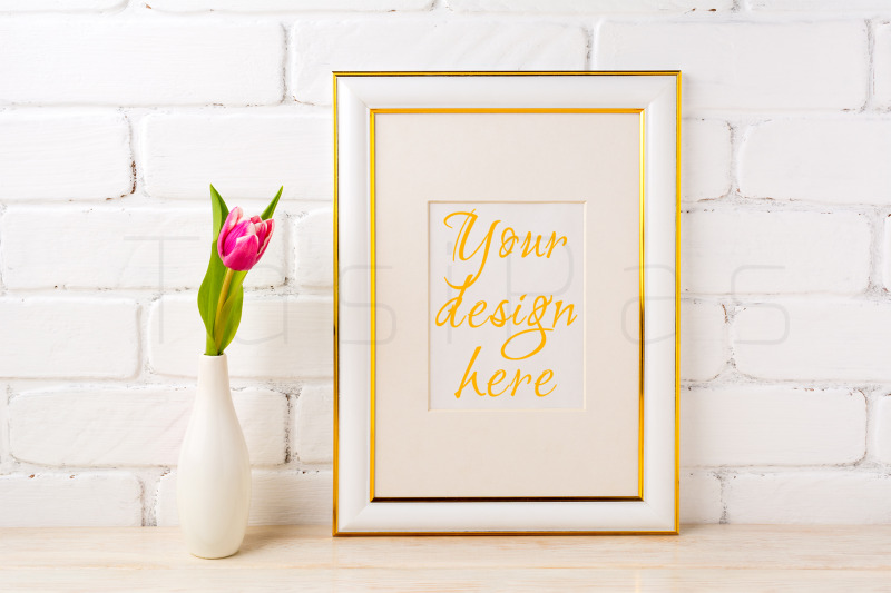 Free Gold decorated frame mockup with rich magenta pink tulip (PSD Mockups)