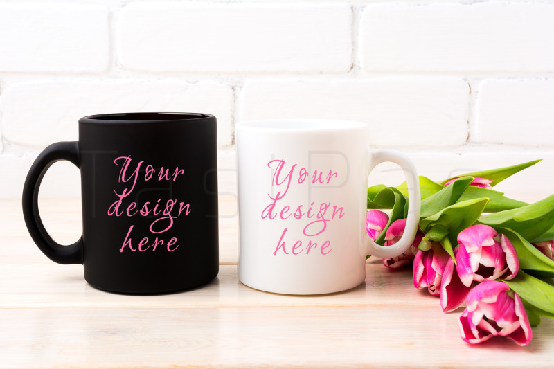 Free White and black mug mockup with rich magenta pink tulips bouquet (PSD Mockups)