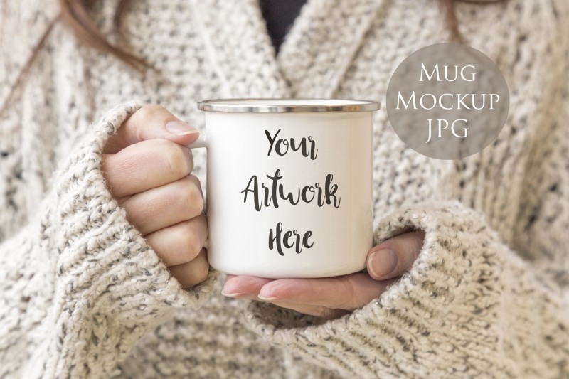 Free Enamel mug Mockup-Woman holding mug (PSD Mockups)