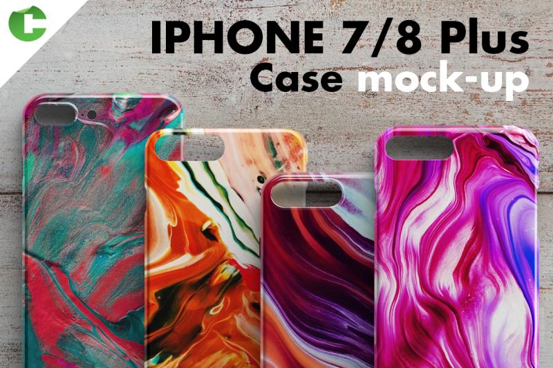 Free iPhone 7plus / 8plus case mock-up (PSD Mockups)