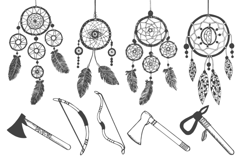 hand-drawn-tribal-elements-set
