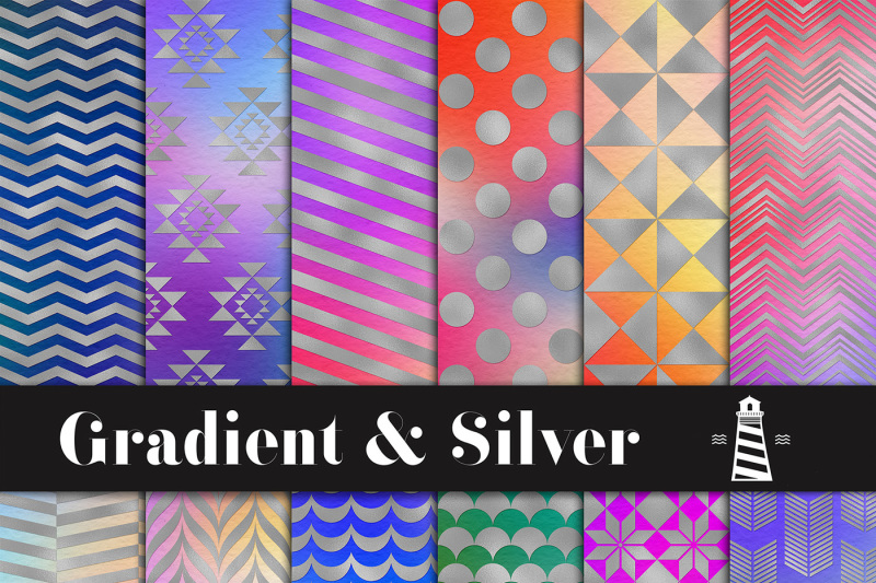 gradient-and-silver-digital-paper