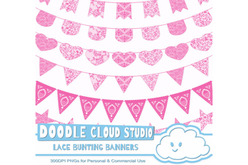 fuchsia-lace-burlap-bunting-banners-cliparts-multiple-lace-textures