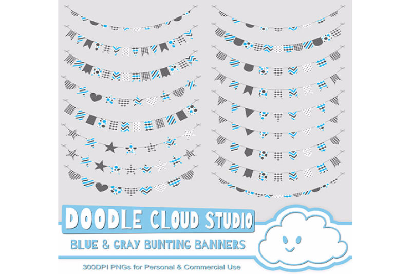 blue-and-gray-patterns-bunting-banners-cliparts-pack-pattered-flags