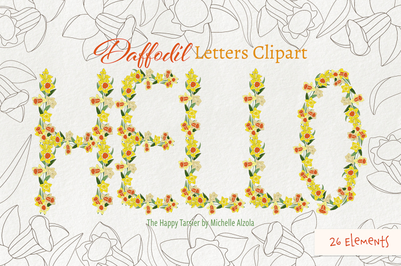 daffodil-letters-clipart-and-vectors