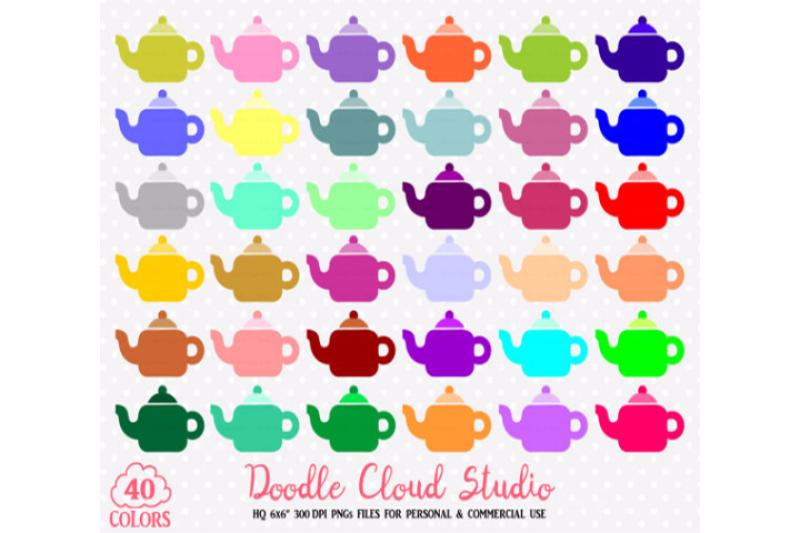 40-colorful-teapot-clipart-rainbow-tea-set-clip-art-illustrations