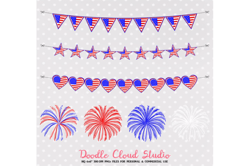 4-july-clipart-fireworks-flag-bunting-banners-hats-tie-celebration