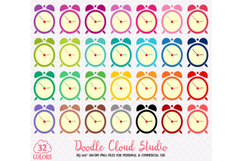 32-colorful-alarm-clock-cute-clipart-rainbow-time-clock-illustrations