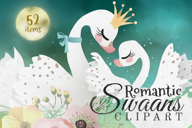 romantic-swans-clipart