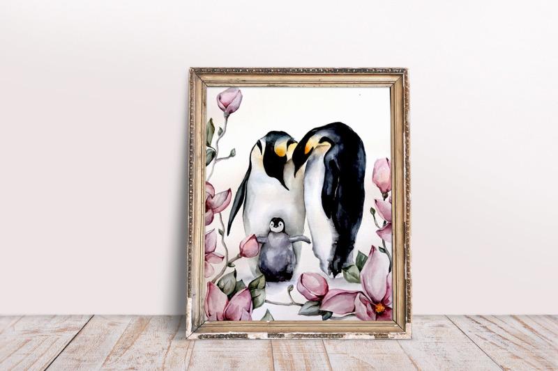 watercolor-penguin-family