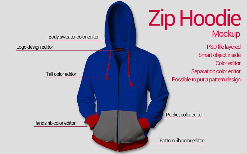Free Zip hoodie mockup (PSD Mockups)