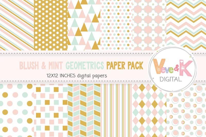 blush-and-mint-geometric-digital-paper-pack-geometric-papers