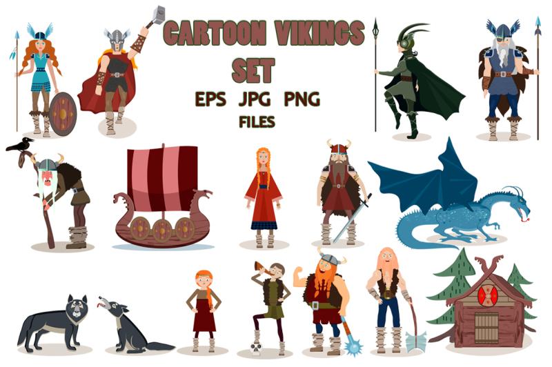 set-of-viking-cartoon-characters