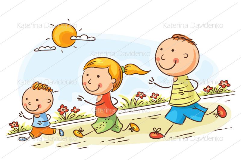 cartoon-family-jogging-together