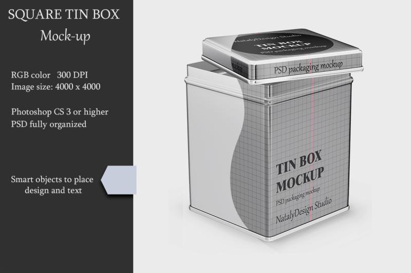 Free Metallic Square Tin Box Mockup (PSD Mockups)