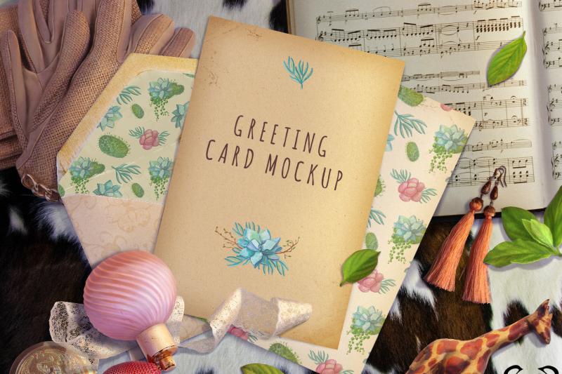 Free greeting card mockup vintage mockup product mockup (PSD Mockups)