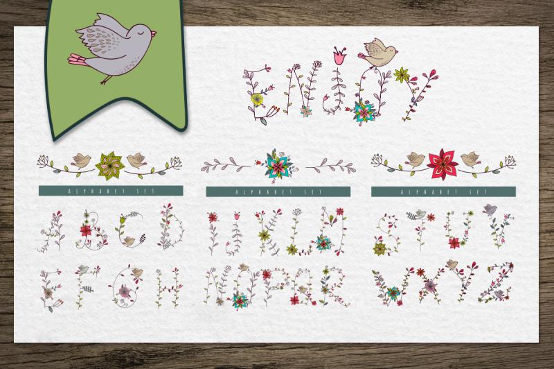 floral-and-birds-alphabet-patterns