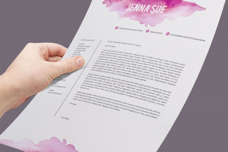 Watercolor Resume Template Cover Letter References