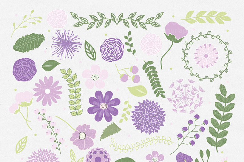 spring-flowers-clipart-mother-s-day-clipart-mum-flowers-wraeth-leaf-purple-lavender-green-floral-clipart-wedding-clipart