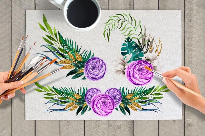spring-flowers-watercolor-set