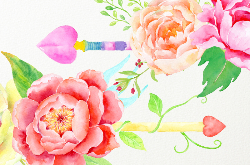 watercolor-clipart-boho-floral-arrows