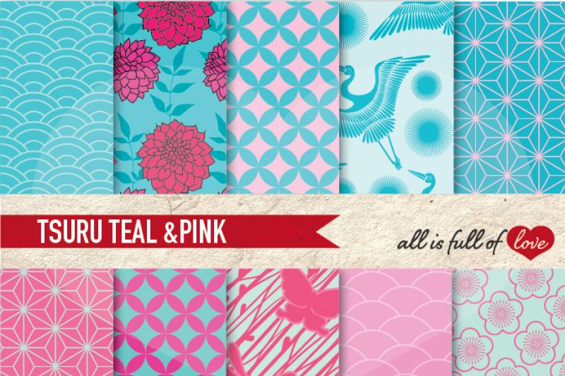 japanese-digital-paper-pink-teal-blue-background-patterns-tsuru