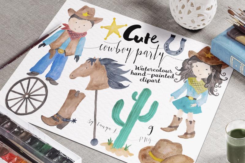 cowboy-party-watercolor-set
