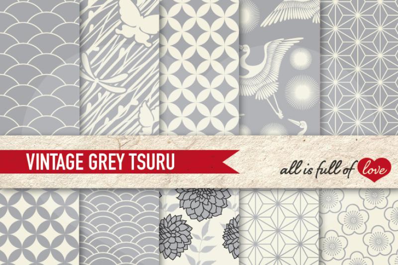 japan-digital-paper-grey-background-patterns-tsuru