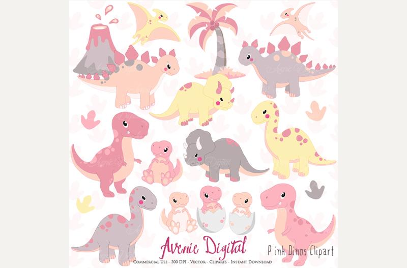 cute-pink-dinosaur-clipart-vectors