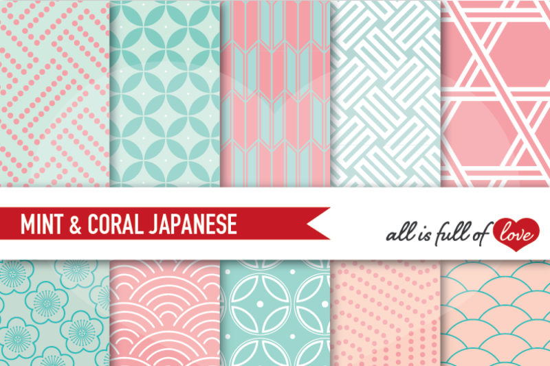 coral-and-mint-green-japanese-patterns-pack