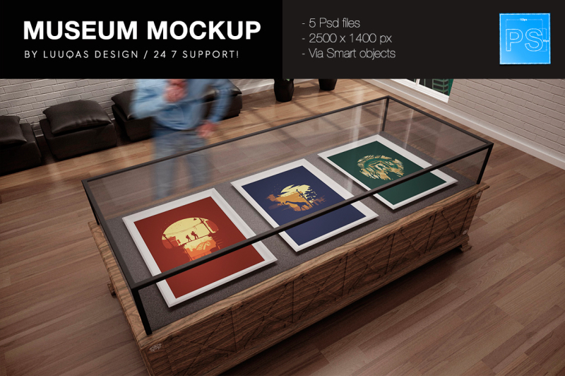 Free The Museum MockUp (PSD Mockups)