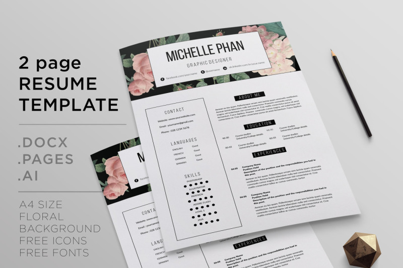 Floral 2 Page Cv Template Resume