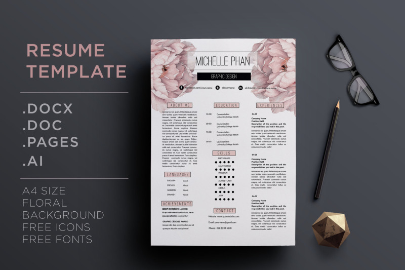floral-cv-template-resume-template