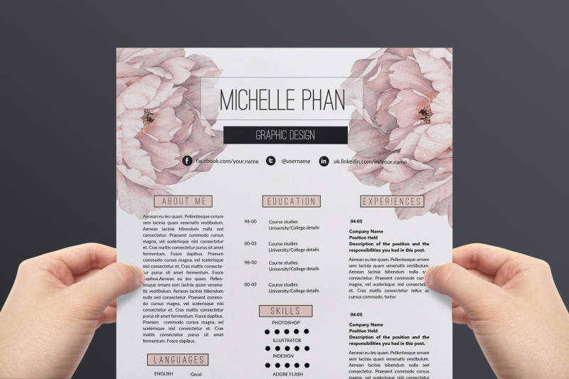 floral cv template    resume template by chic templates