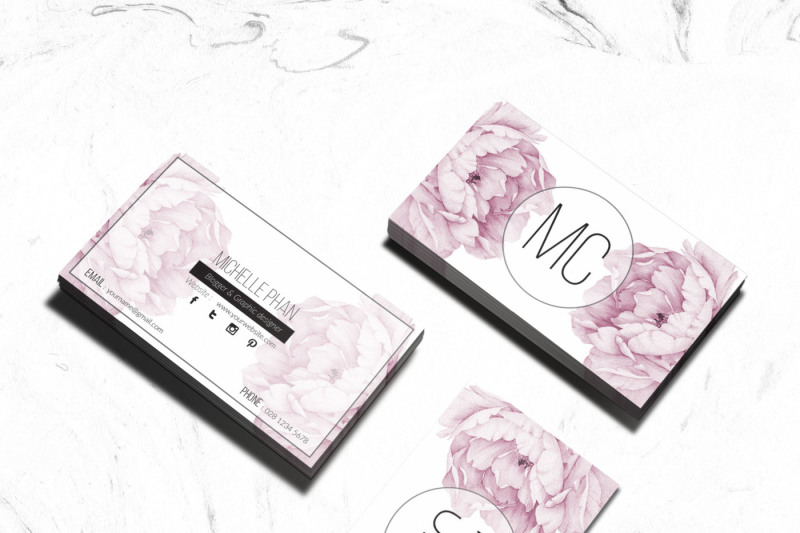 pink-floral-business-card-template