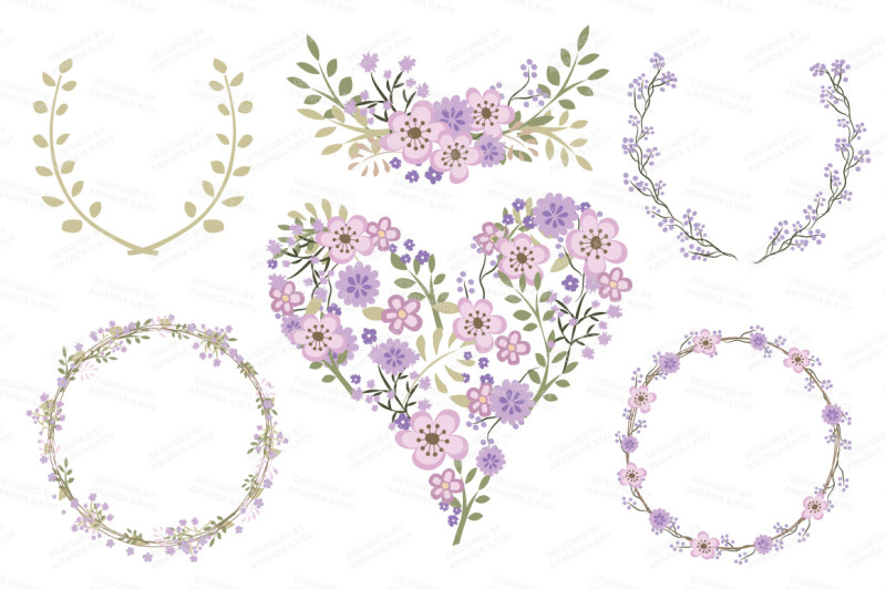 clara-vintage-floral-wedding-heart-clipart-in-lavender