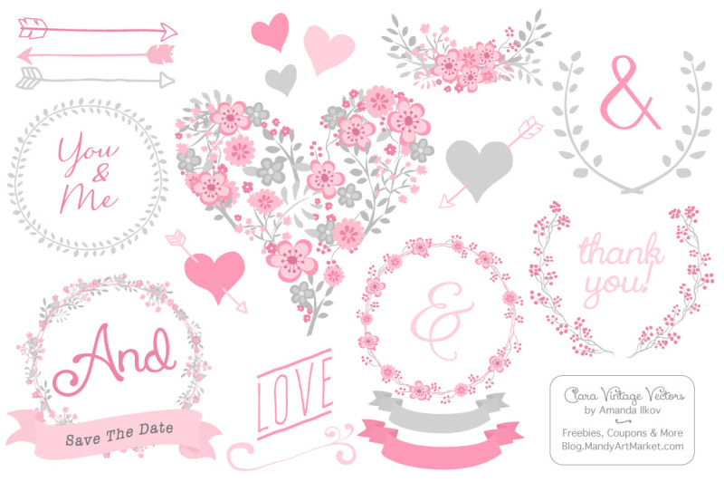 clara-vintage-floral-wedding-heart-clipart-in-pink-and-grey